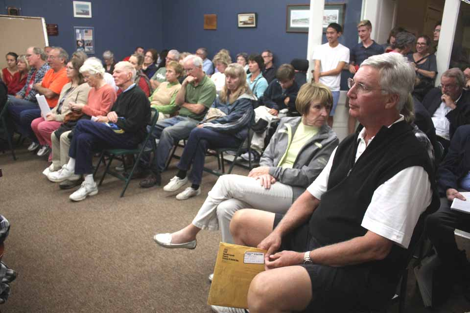 "More than 60 residents – many Bassett Hospital neighbors – packed the Village Board meeting room at 22 Main this evening to object to the creation of a ""hospital zone"" around what was called a ""behemoth.""  (Ji Kevlin/allotsego.com)"