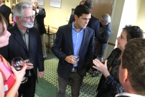 Congressional candidate Sean Eldridge is briefed on local issues by county Rep. Beth Rosenthal, Roseboom.  Counterclockwise from left are Rosenthal's husband Craig Levy, Barbara Monroe of Milford and Bennett Sandler of Fly Creek.