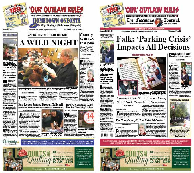 "This week's edition of Hometown Oneonta reports on Tuesday's stormy Common Council meeting on student rowdiness.  In The Freeman's Journal, Cooperstown Village Trustee, chair of the Streets Committee, is interviewed on ""the parking crisis"" and what to do about it."