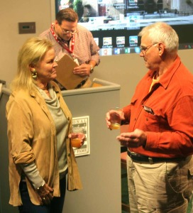 Hall chairman Jane Forbes Clark chats with an attendee after she and Hall President Jeff Idelson conducted a Q&A in the Hall's Bullpen Theater this afternoon.