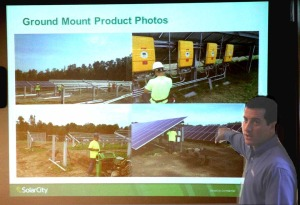 Dan Leary, senior project development manager with SolarCity, Cranbury, N.J., outlines a 10-acre solar-farm project near Laurens to the county Board of Representatives this morning.  (Jim Kevlin/allotsego.com)