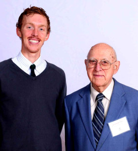 Science Discovery Center founder Al Read with scholarship recipient Charles Remillard, SUNY Oneonta Class of 2015, at the President's Scholarship Dinner.