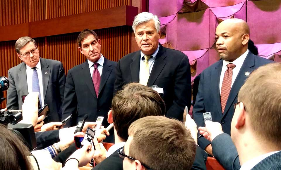 From left, Senator James L. Seward, Senate Coalition Co-Leader Jeff D. Klein, Senate Majority Leader Dean G. Skelos and Assembly Speaker Carl E. Heastie meet the media following the opening meeting of the general budget conference committee.