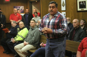 "Tom Pondofino, supervisor of the city's water and sewer department, broke the worker's ""silent protest"" to air concerns about management"