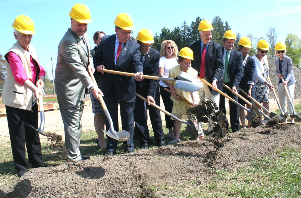 Those breaking ground on the William F. Streck Community Health Center this morning included, from left, Marian Mullen, Congressman Gibson, Senator Seward and the honoree, Dr. Bill Streck.  Two past Streck is Dr. Vance Brown, his success as Bassett president/CEO.  (Jim Kevlin/allotsego.com)
