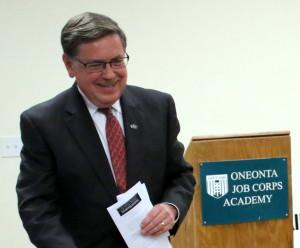 Seward praises the Job Corps work and, as a reward, announces an $80,000 grant to continue it.