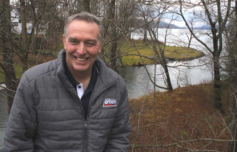 Newly elected county Rep. David Bliss sits for a photo shoot by the Susquehanna River – on the Town of Middlefield side. (The far shore is the Town of Otsego County.) He is one of seven freshman county reps taking office Jan. 1. (Jim Kevlin/AllOTSEGO.com)
