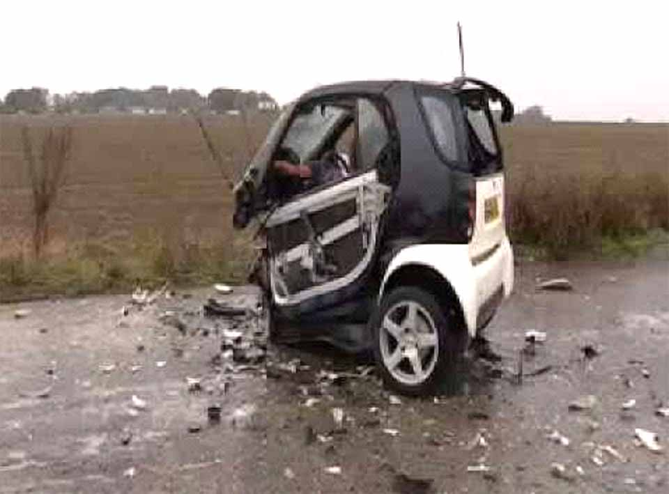 A Cooperstown resident driving along Route 20 Sunday sent this photo back from the scene of a Smart Car collision with a deer. The passengers were treated for injuries; the deer escaped.