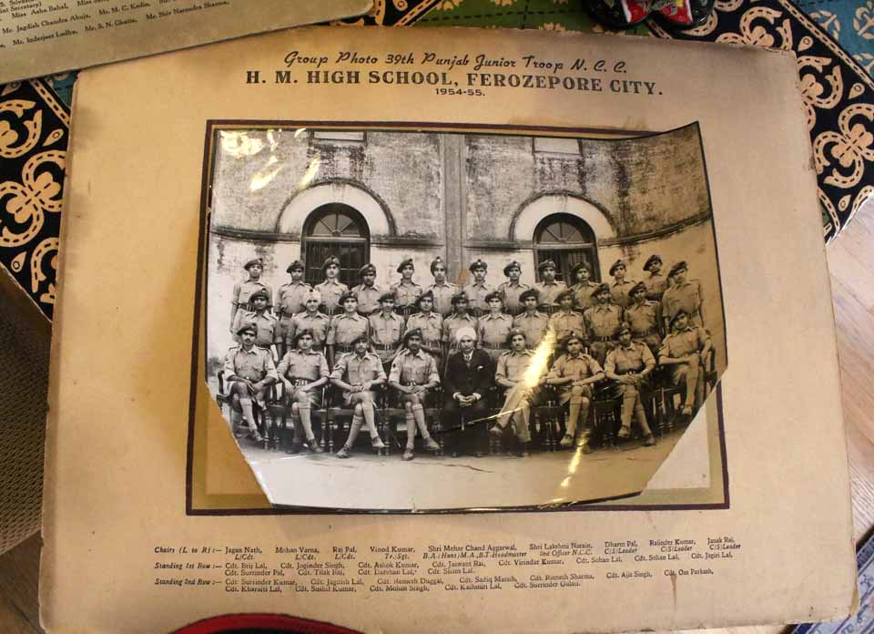 Ashok Malhotra, second row, third from left, in a cadet's uniform with the rest of his high school class in Ferozepur, India.
