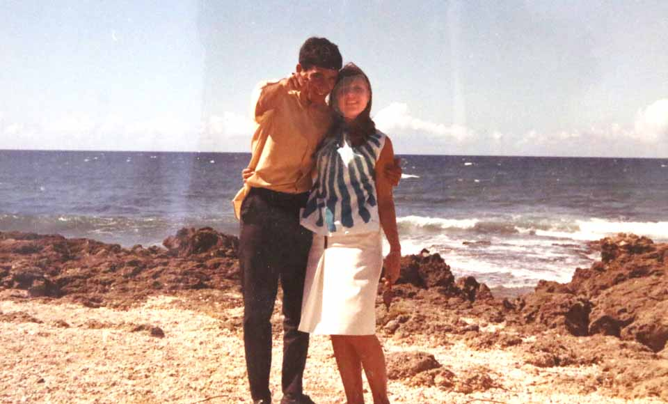 "The young couple in Hawaii, ""paradise"" in young Malhotra's eyes."