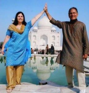 Ashok and Linda Drake at the Taj Mahal.