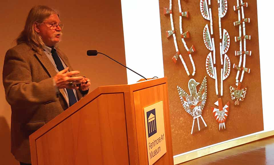 "Roddy Moore, a 1971 Cooperstown Graduate Program alumni, returned tonight to give the annual Bruce Buckley lecture on ""Thunderbird Jewelry of the Santo Domingo Pueblo."" The jewelry was also known as ""Depression Jewelry"" and was made from records, plastic and other salvage, then sold to tourists. Before he began studying it, no other studies had ever been done, and most antique stores hid it in the back. (Ian Austin/AllOTSEGO.com)"