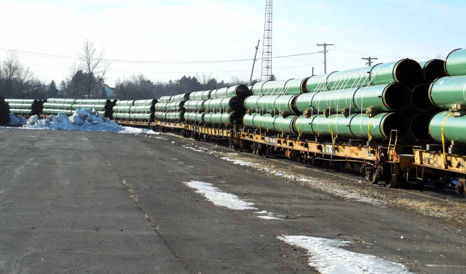 Pipe arrived in New York State over the winter in anticipation of Constitution Pipeline construction beginning this year.  (Constitution Pipeline photo)