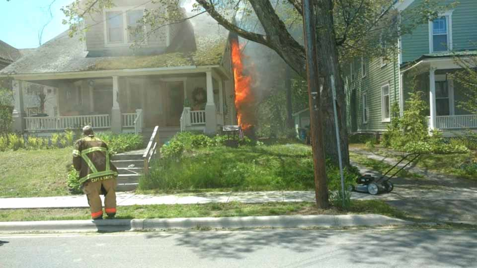 Firemen responded quickly to the call of a fire at 8 Forest Ave. onOneonta's East End. (Mike Murphy photo)