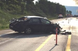 The car involved in the accident swerved to avoid hitting a deer, according to State Police