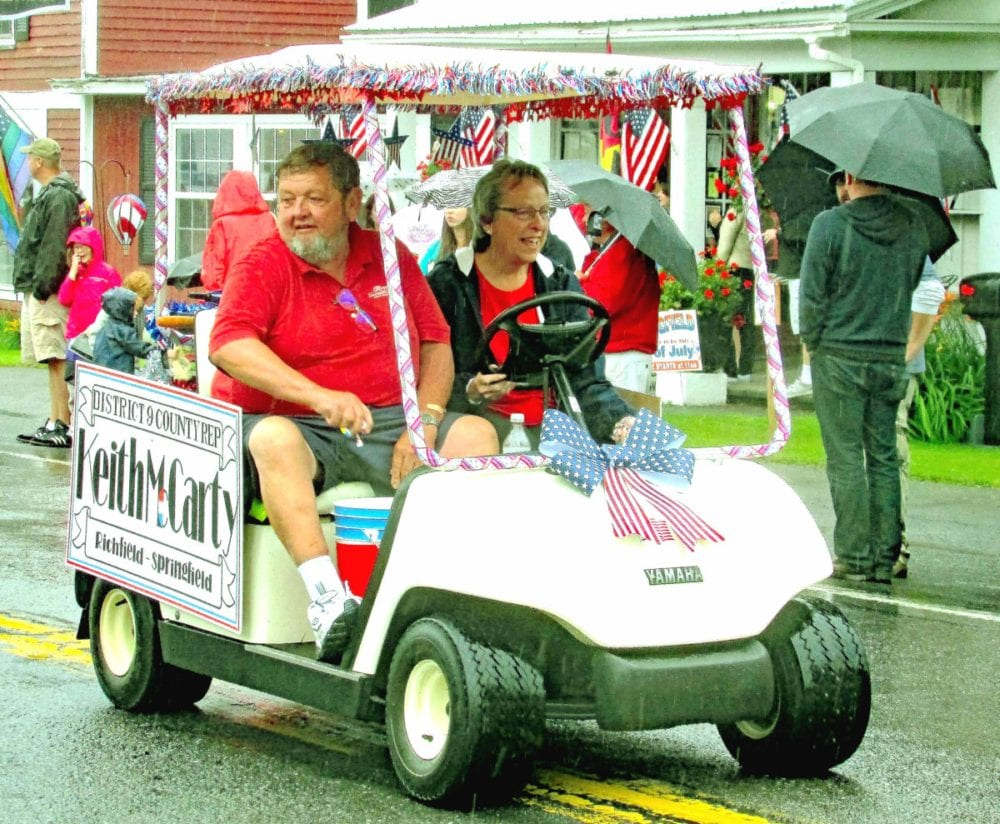 County Rep. Keith McCarty, R-East Springfield, and his wife, Janet, a mainstay in the Northern Otsego Relay for Life, are grand marshals at this year's Springfield Fourth of July parade, which steps off at 11 a.m. on Independence Day down Main Street, Springfield Center.