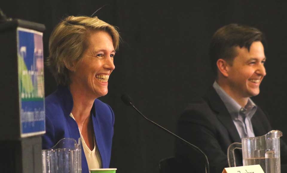 Democratic contenders for Gibson's seat – Zephyr Teachout of Dover Plains, the author and Fordham law professor, and Will Yandik, an Ivy League grad, and former and town board member in Livingston, Ulster County – agreed on many issues, from the need for broad band to trade adjustments necessary to revive mid-size farms. When asked to define their differences, Teachout spoke to her successes in generating grass-roots campaigns on particular issues; Yandik said that, to win the 19th District, a candidate has to win the middle, and his roots and knowledge of the district would work in his favor. Stephanie Bauer of Cooperstown moderated.