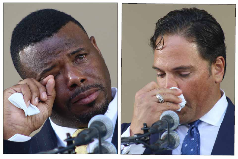 Frequently tearful during their acceptance speeches, former Marlin Ken Griffey Jr., left, and former Met Mike Piazza were inducted into the National Baseball Hall of Fame in a ceremony in Cooperstown under a clear blue, 92-degree sky. (Ian Austin/AllOTSEGO.com)