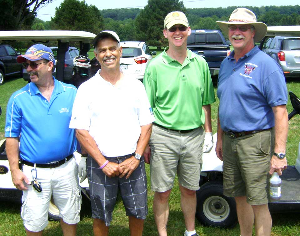 Team 5- Glenn Falk, Bob Barraco, Jeremy Preston, Jim Tallman  was the 2015 1st place winner of the CRF Golf Tournament.  Their team composed of Cooperstown firefighters and a retired Richfield Springs educator,  was sponsored by Underhill Farm of Burlington Flats..