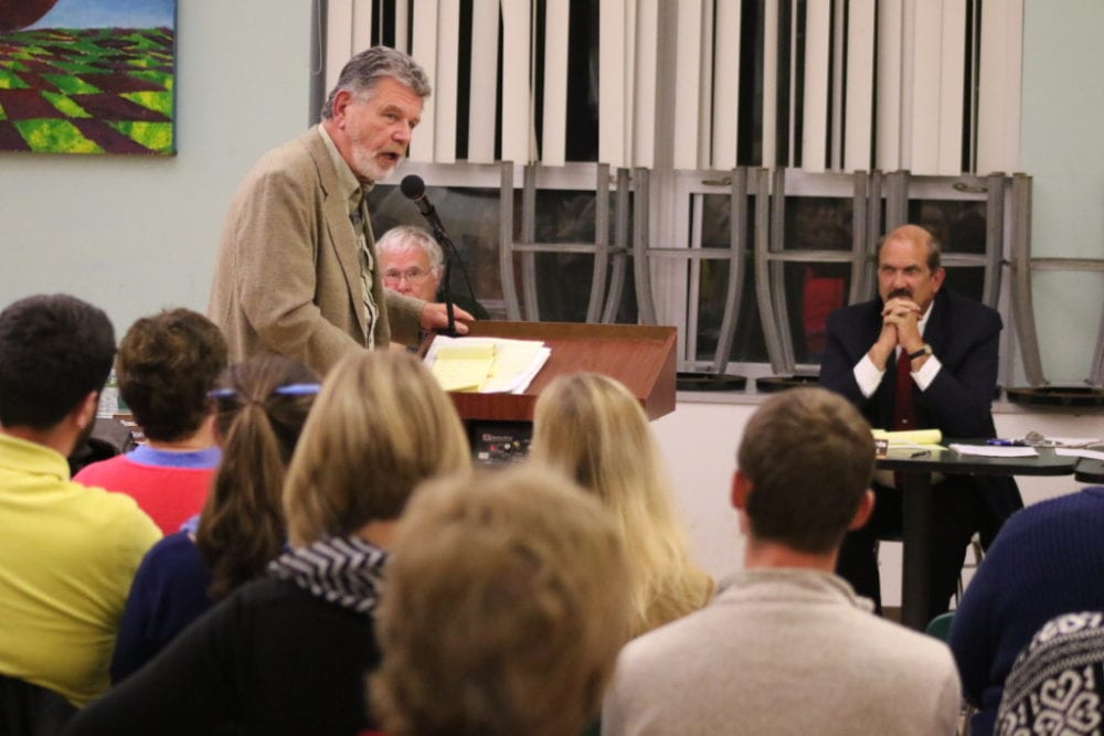 Buzz Hesse speaks before the Unatego School Board and the crowd gathered to voice their protest of the proposed closing of the Otego Elementary school during a public hearing held this evening at the Unatego High School. (Ian Austin/AllOtsego.com)