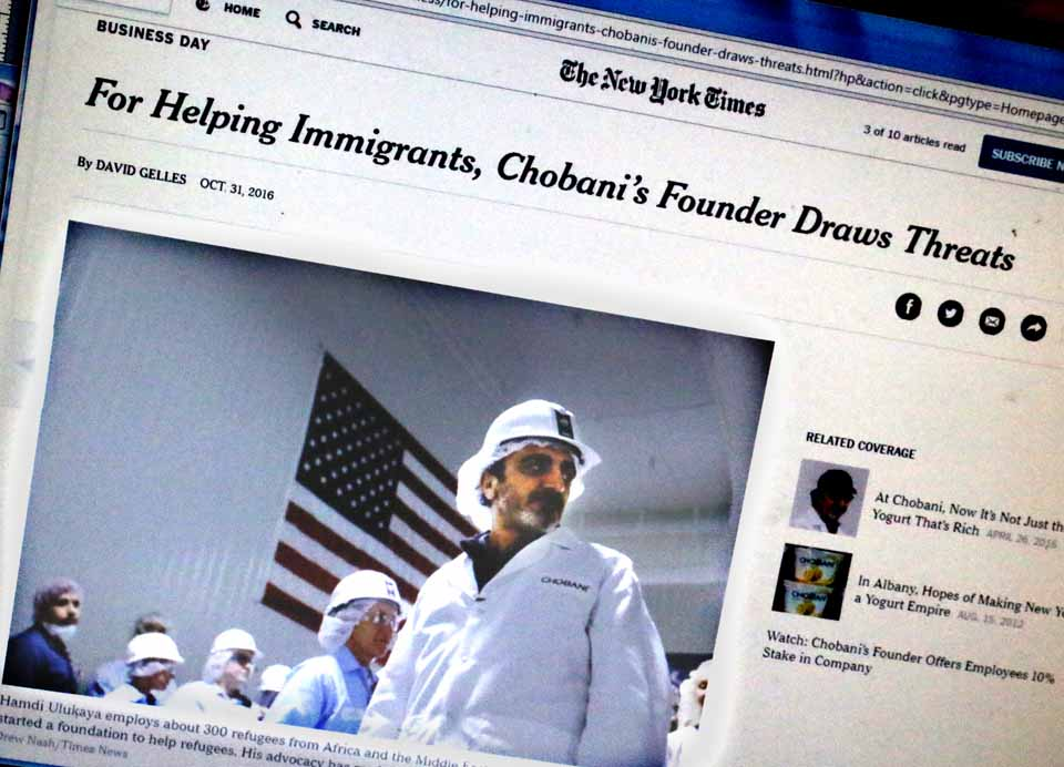 In today's business section of the New York Times, and at nytimes.com, the newspaper is reporting Chobani founder Hamdi Ulakaya is being targeted on social media and the right-wing Breitbart News as too friendly toward refugees. Ulukaya, a native of Turkey, visited the island of Lesbos, where boats carrying refugees seeking to enter Europe from North Africa were capzing