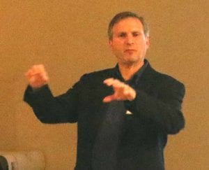 Jonathan Winter introduced the Brookwood Point charette the other night.  (AllOTSEGO.com photo)