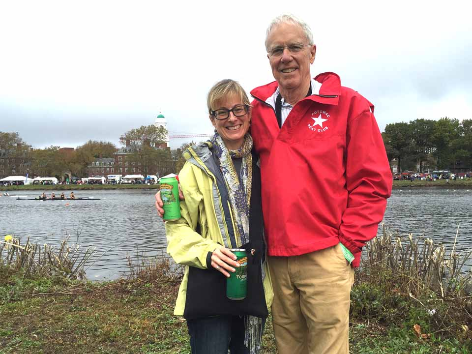 Lang Keith and daughter Anne after Judge Keith competed in the Grand Masters Single Scull event at the Head of the Charles on Saturday 22 October, 2016