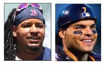Manny Ramirez, left, and Ivan Rodriguez