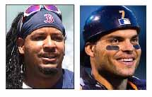 Manny Ramirez, left, and Ivan Rodriguez