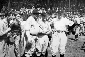 Babe Ruth, George Sisler and Walter Johnson at the Hall of Fame Game, 1939