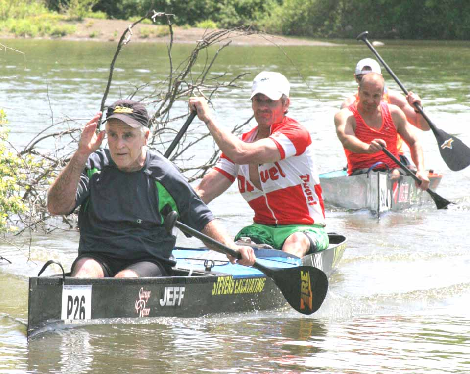 Shultis of Otego and Larry Harrison of West Oneonta arrive  at late morning today at the Southside Dam in Oneonta.  (Ian Austin/allotsego.com)