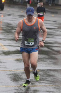 Oneonta's Mike Hamilton, no stranger to victory in local races, wins the 10K event in the BASE race that started and ended this morning in Cooperstown's Doubleday Field parking lot.