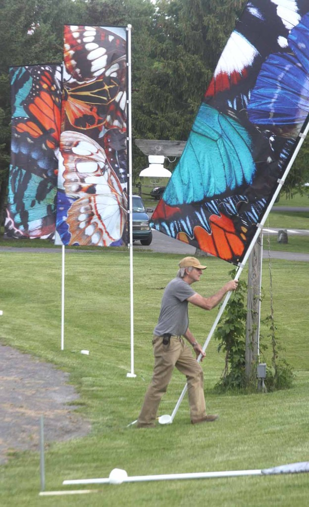 """Boulder, Colo., artist George Peters installs one of 12 banners he and fellow artist Melanie Walker devised as a counterbalance to the """"Madame Butterfly"""" tragedy.  (Jim Kevlin/allotsego.com)"""