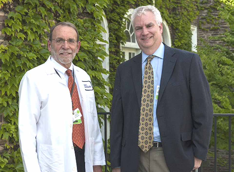 Dr. Vance Brown, right, incoming president/CEO of Bassett Healthcare, arrived at the Cooperstown hospital Monday.  He and Bill Streck, left, will be working together over a two-week transition, prior to Streck's retirment on July 1.