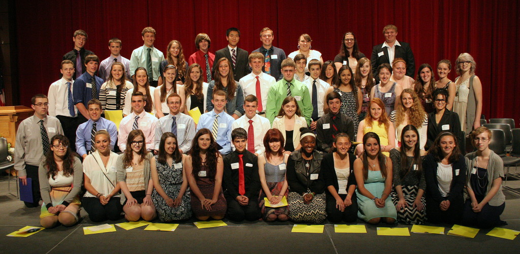 Oneonta Dollars for Scholars program honored 57 local young people in a ceremony in the Hunt Union Ballroom on Monday evening.