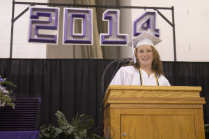 Keira Higgins gives the Senior Address to the 2014 Milford High School graduates during commencement on Friday, June 27.
