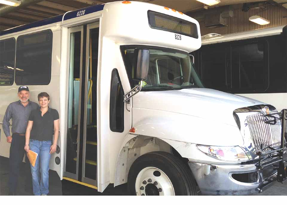 OPT Director Paul Patterson and County Planner Psalm Wyckoff conclude delivery inspection of #Bus 8228