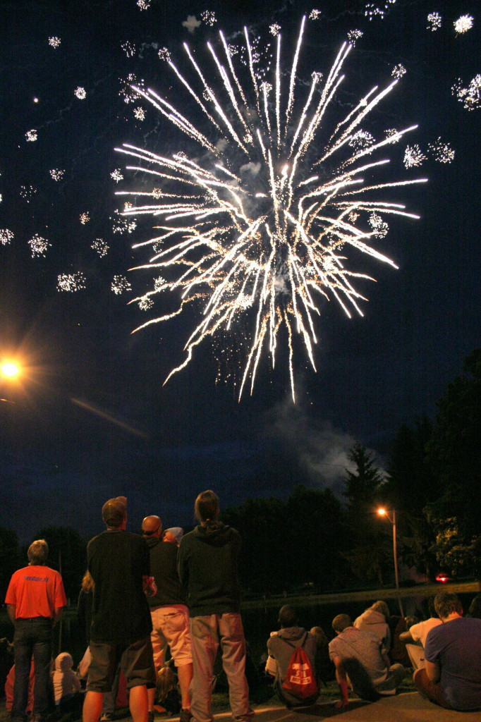 Brothers Justin and Jim Gillet of Oneonta, lower left, watch the fireworks with others on the bank of Hodges Pond in Neahwa Park at the conclusion of the July 4th festivities on Thursday.