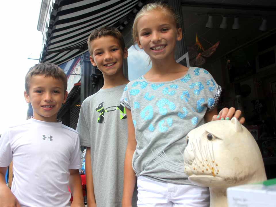 Among the visitors are the Kump grandchildren, whose grandparents, Trudy and Joseph Kump have a summer camp on Franklin Mountain, south of Oneonta.  Posing with the famed otter in front of the Riverwood gift shop are, from left, are the Checchio siblings, Olivia, 9, Jake, 10,and Kyle, 9, visiting with their parents from Warren, N.J.  Dad Carl is a Yankees fan.