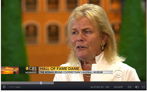 Jane Forbes Clark is interviewed in the Hall of Plaques by CBS News in an interview that aired this morning.