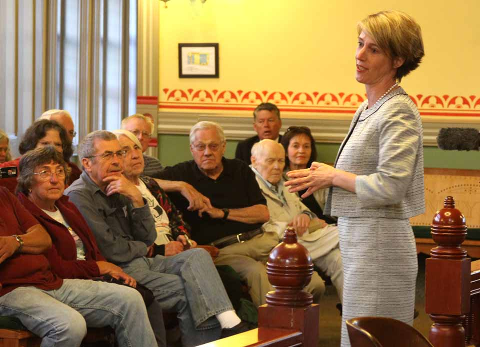 "Zephyr Teachout, who is challenging Governor Cuomo in the Sept. 9 Democratic primary for governor, drew a receptive 75 people to Courtroom #1 in Coopertown last evening with an anti-fracking, unabashedly liberal message.  ""I have a vision of an economy that works for all of us, not just the wealth,"" she said.  She was invited to speak, although not yet endorsed, by Sustainable Otsego.  (Jim Kevlin/allotsego.com)"