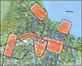 """In addition to developing market data, the Comprehensive Master Plan update will explore community support for possible development of nine """"nodes"""" in and around the downtown."""