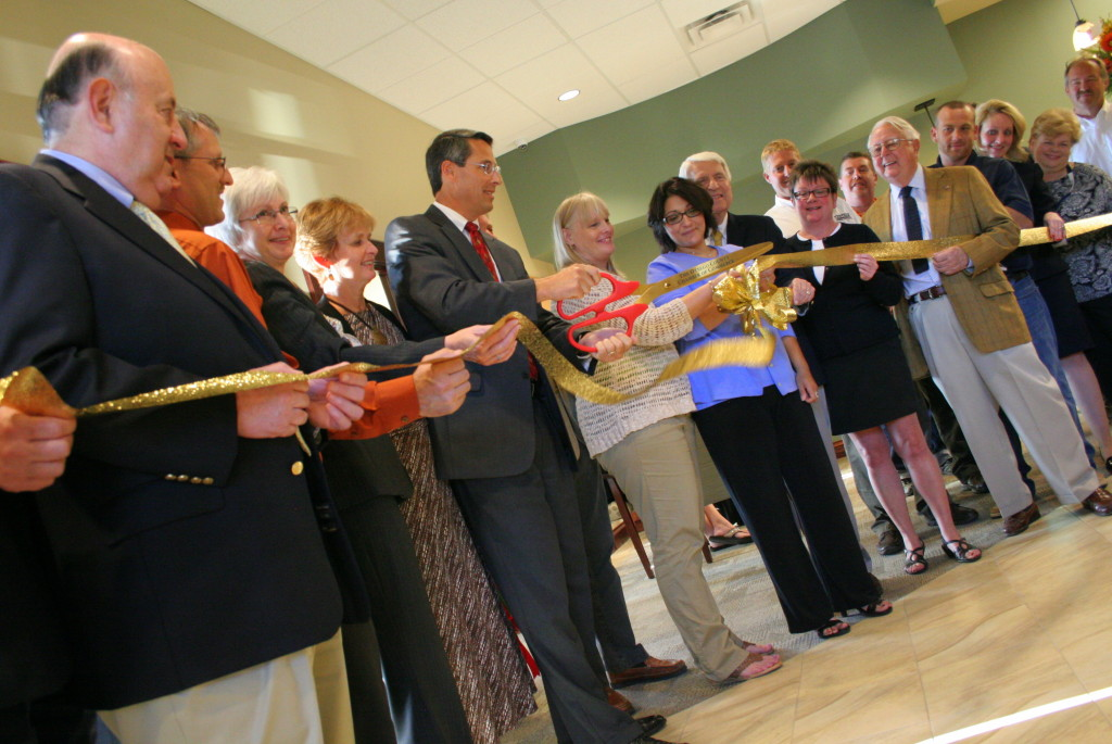 The Bank of Cooperstown held a ribbon cutting in its new branch at 34 Main St. in Oneonta on Monday. Pictures here are, from left; Tony Casale, Cooperstown, Mark DaMico, Oneonta, Christine Amos, Oneonta, Lori White, Oneonta, President Scott White, Oneonta, Evelyn Zuk, Oneonta, Jennifer Deleo, Delhi, Gavin MacMillian, Sidney, Rachel Jessup, Oneonta, George Allen, Oneonta, Bob O'Neil, Cooperstown, Matt Katz, Oneonta, Barbara Ann Heegan, Oneonta, Carol Waller, Cooperstown and Rick Eastman, Oneonta.