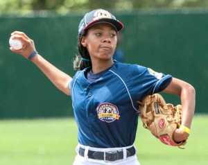 Mo'ne Davis shows her stuff while playing at Cooperstown All-Star Village earlier this summer.  (All-Star Village photo)
