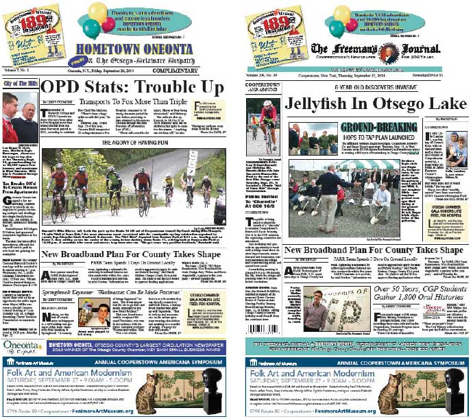 Hometown Oneonta reports OPD data shows college students transported to Fox has more than tripled over last year.  The Freeman's Journal reports on jellyfish invading Otsego Lake.