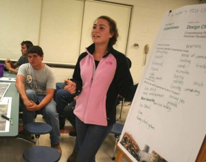 CCS senior Bella Anania reported back for her high school discussion group, saying they would like to see more jobs and more entertainment year-'round in 10 years.