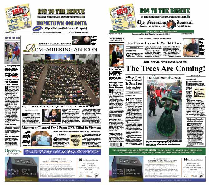 """In Hometown Oneonta this week, the """"City of the Hills"""" bears Mayor Dick Miller a final farewell.  The Freeman's Journal details the variety of trees that are being planted today on Main Street, Cooperstown."""