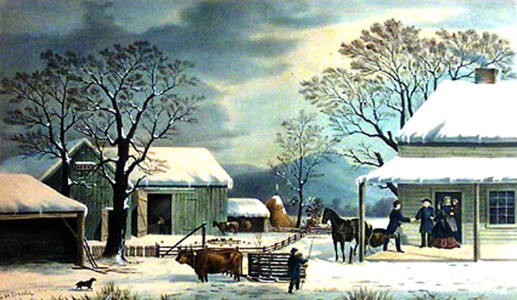 """HOME TO THANKSGIVING"" • Currier & Ives, 1867"