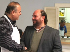 Democratic County Chair Richard Abbate, who, a Cooperstown Rotarian, was flipping flapjacks in the kitchen, came out to shake hands with Vince Casale, his Republican counterpart.