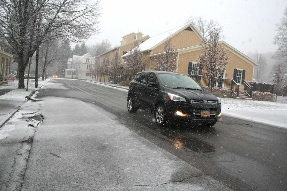 Snow began falling on Cooperstown at about 10:15 this morning, as a winter storm coming up the East Coast arrived locally.  The National Weather Service has issued a winter storm warning that will continue overnight.  Follow the local forecast for any changes.